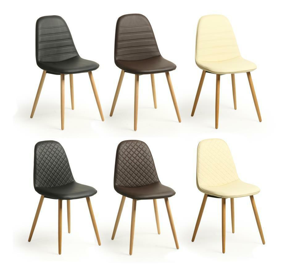4 X Eames Retro Style Kent Faux Leather Lounge Dining Chairs Solid Wooden Leg