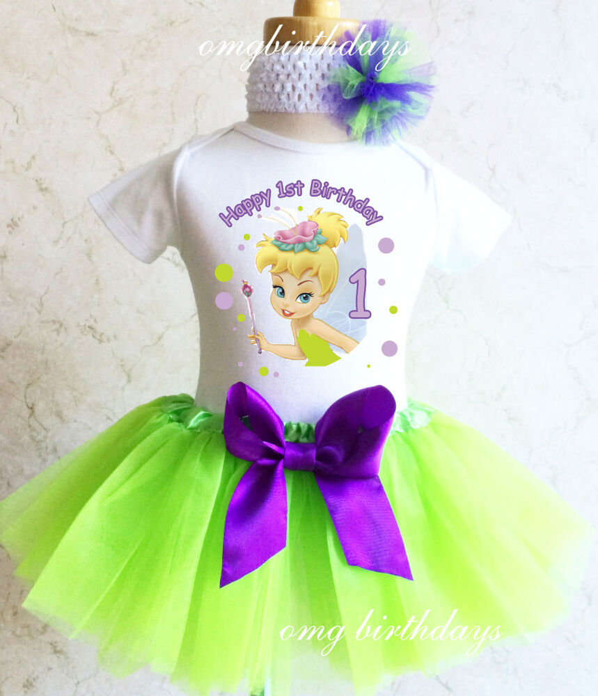 Tinkerbell Fairy Pixie Baby Girl 1st First Birthday Tutu