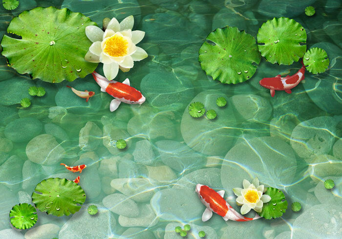 Lily fish pond red koi garden 3d full wall mural photo for Koi fish pond help