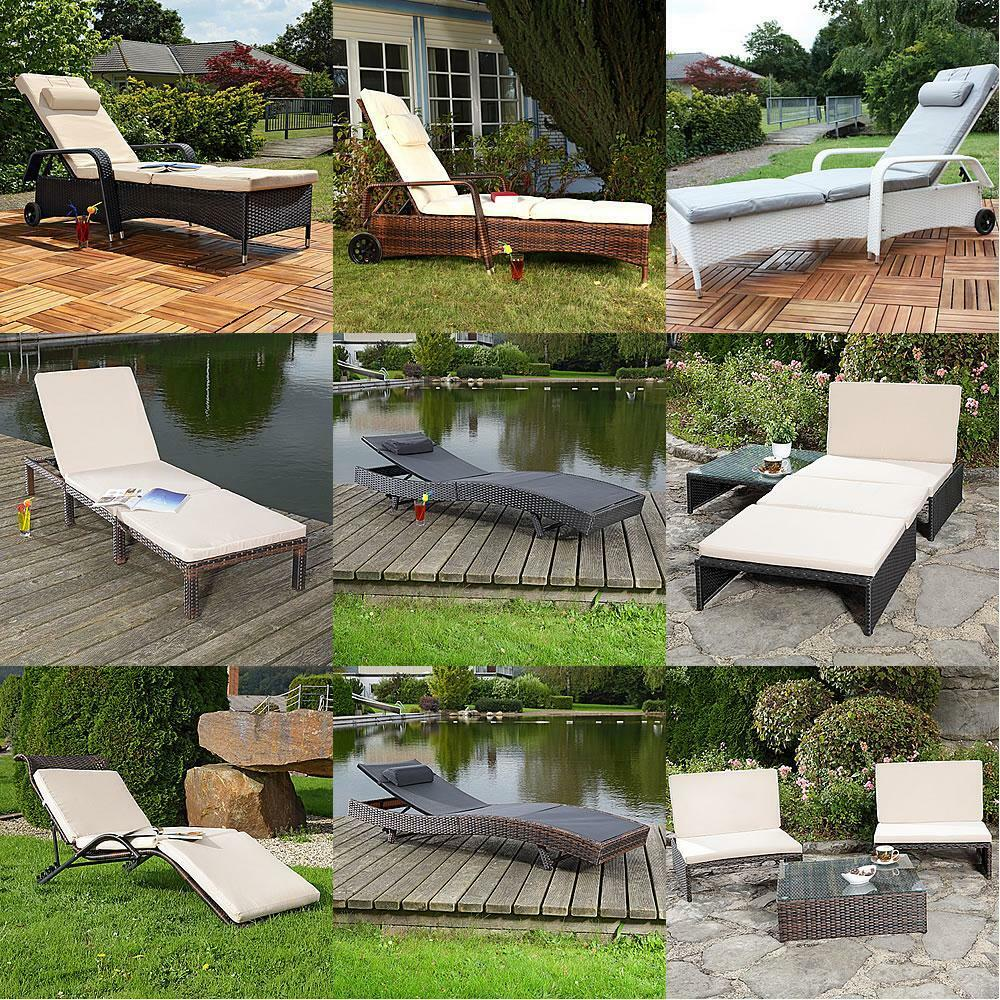 rattan sonnenliege gartenliege polyrattan rattanm bel terrassen liege schwarz br ebay. Black Bedroom Furniture Sets. Home Design Ideas