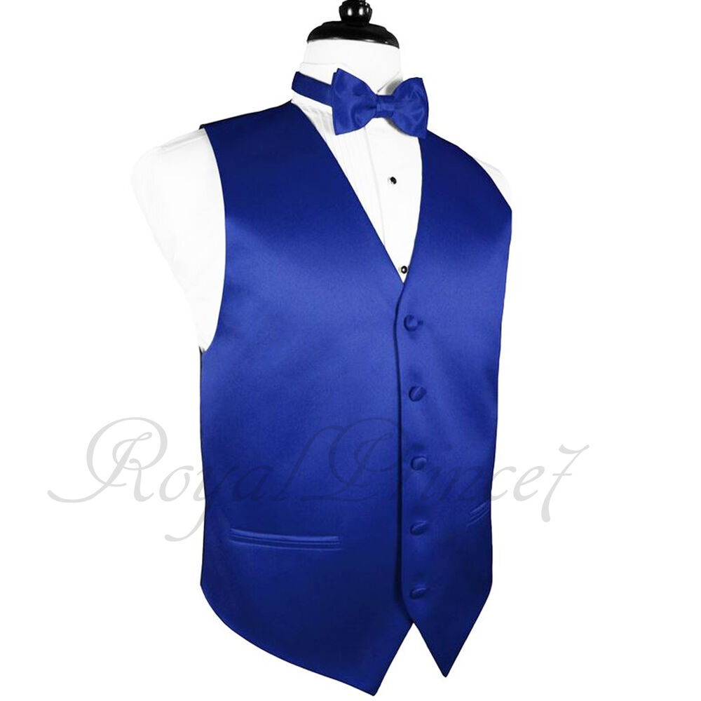 10i royal blue solid vest waistcoat and butterfly bow tie