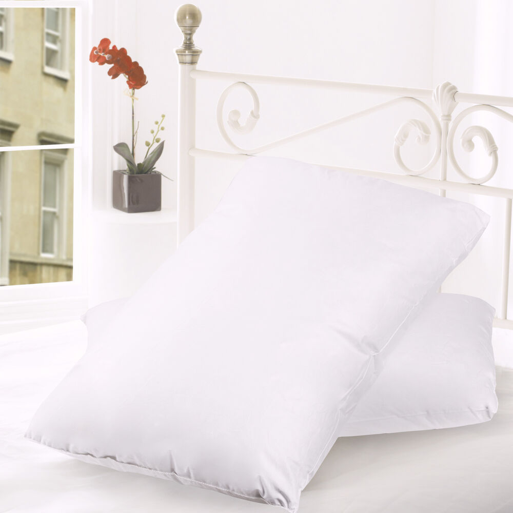 Feather Amp Down Blend Bed Pillows 100 Cotton Cover 2 Pack