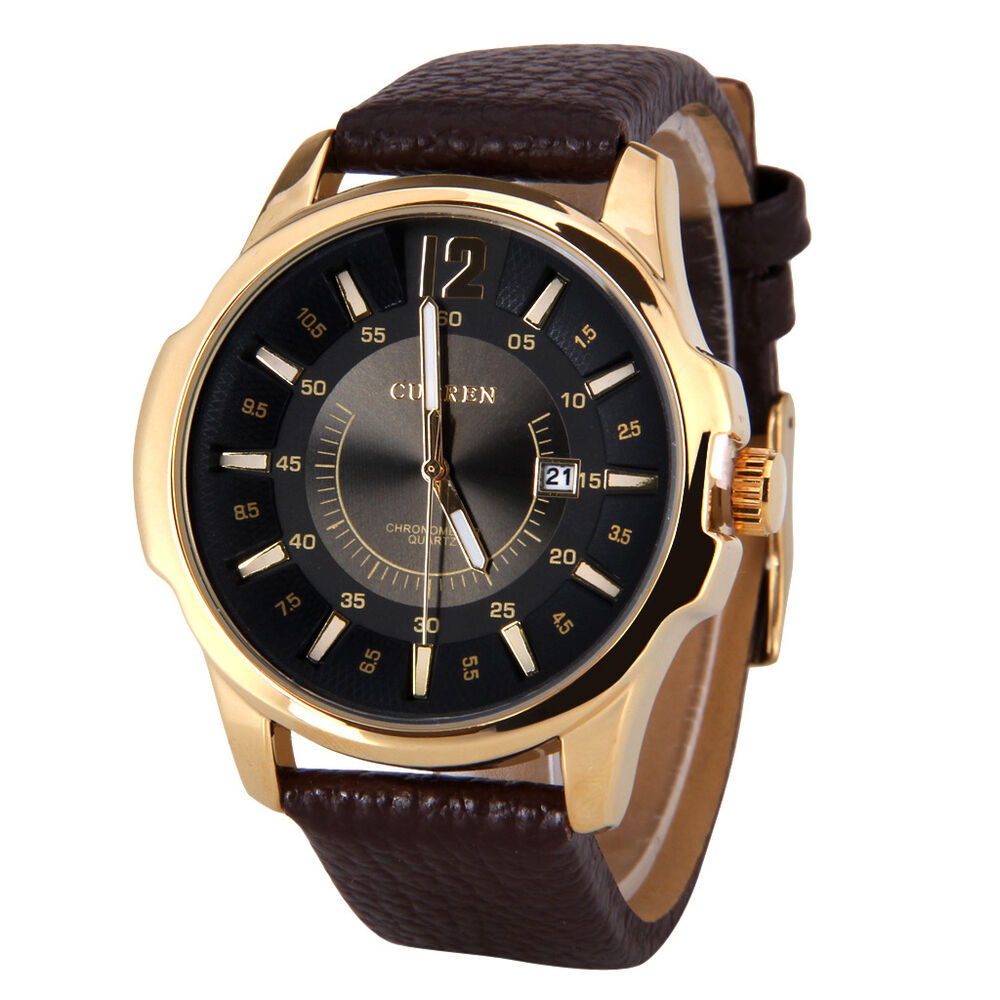 Curren men 39 s watches calendar water resistant quartz movement wristwatch for mam ebay for Curren watches