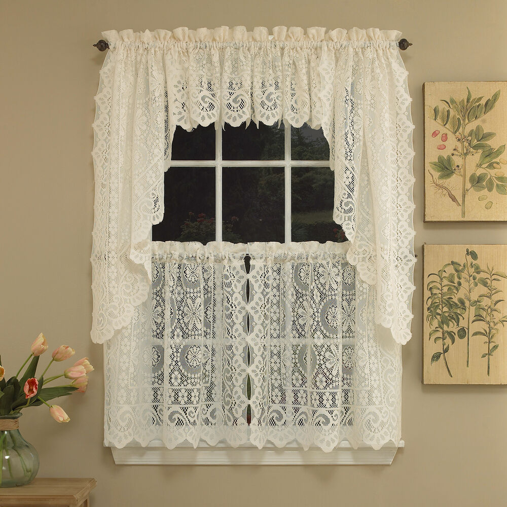 Frilled Kitchen Curtains Lined: Hopewell Heavy Cream Lace Kitchen Curtain Choice Of Tier