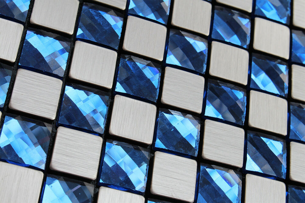 Sample silver brushed particle blue crystal mosaic tile for Mosaic tile for crafts