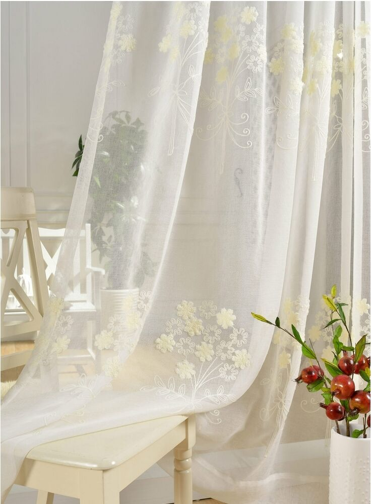 2 Panels Cream Embroidered Flowers Sheer Curtain