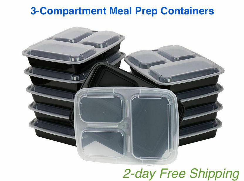 meal prep containers food storage lid 3 compartment bpa free plastic lunch boxes ebay. Black Bedroom Furniture Sets. Home Design Ideas