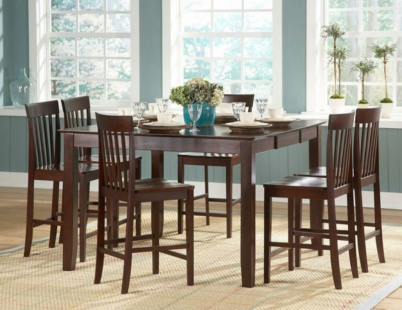 casual counter height dining table 6 chairs dining furniture set