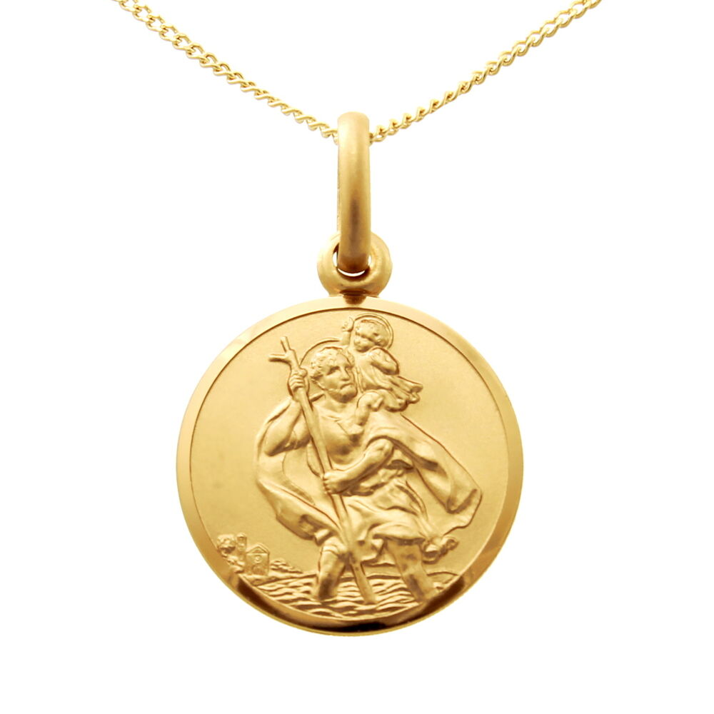small 9ct gold st saint christopher pendant chain necklace. Black Bedroom Furniture Sets. Home Design Ideas