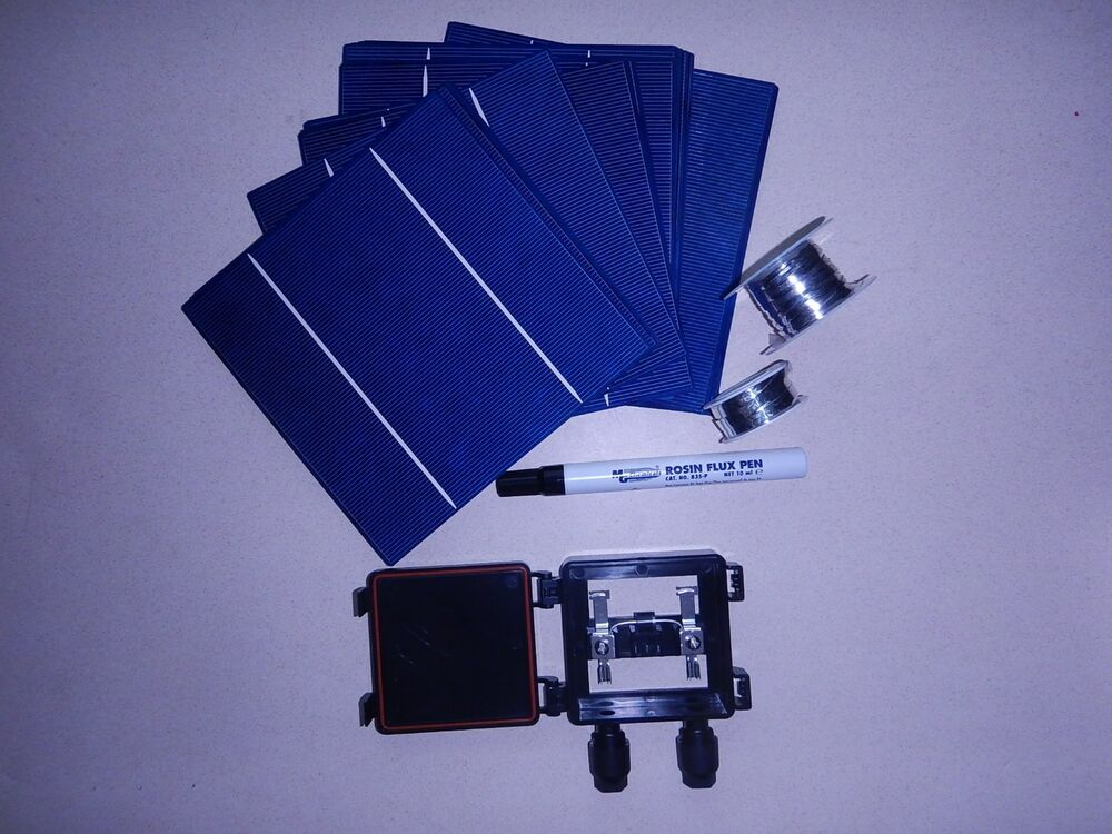 40 6x6 High Efficient Solar Cell Kit DIY Solar Panels JBX Flux Pen T B ...