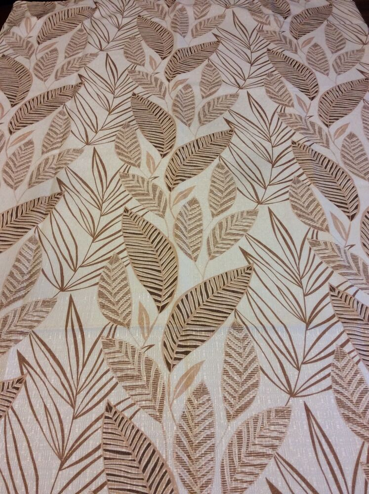 Leaf Leaves Palm Leaves Shower Curtain Fabric Ivory With