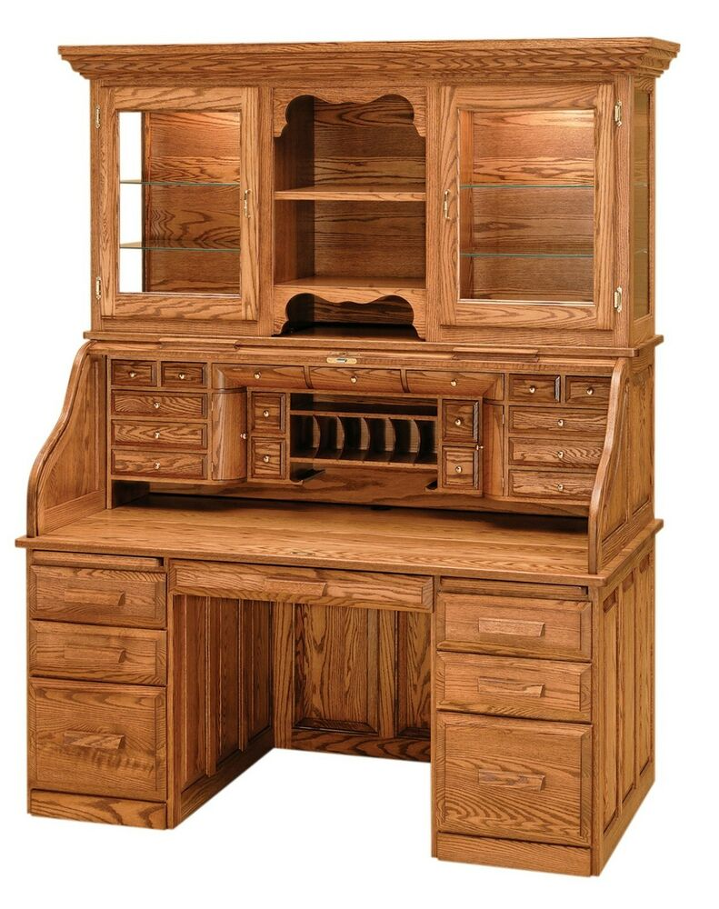 Luxury amish rolltop desk office furniture solid wood oak for Solid oak furniture