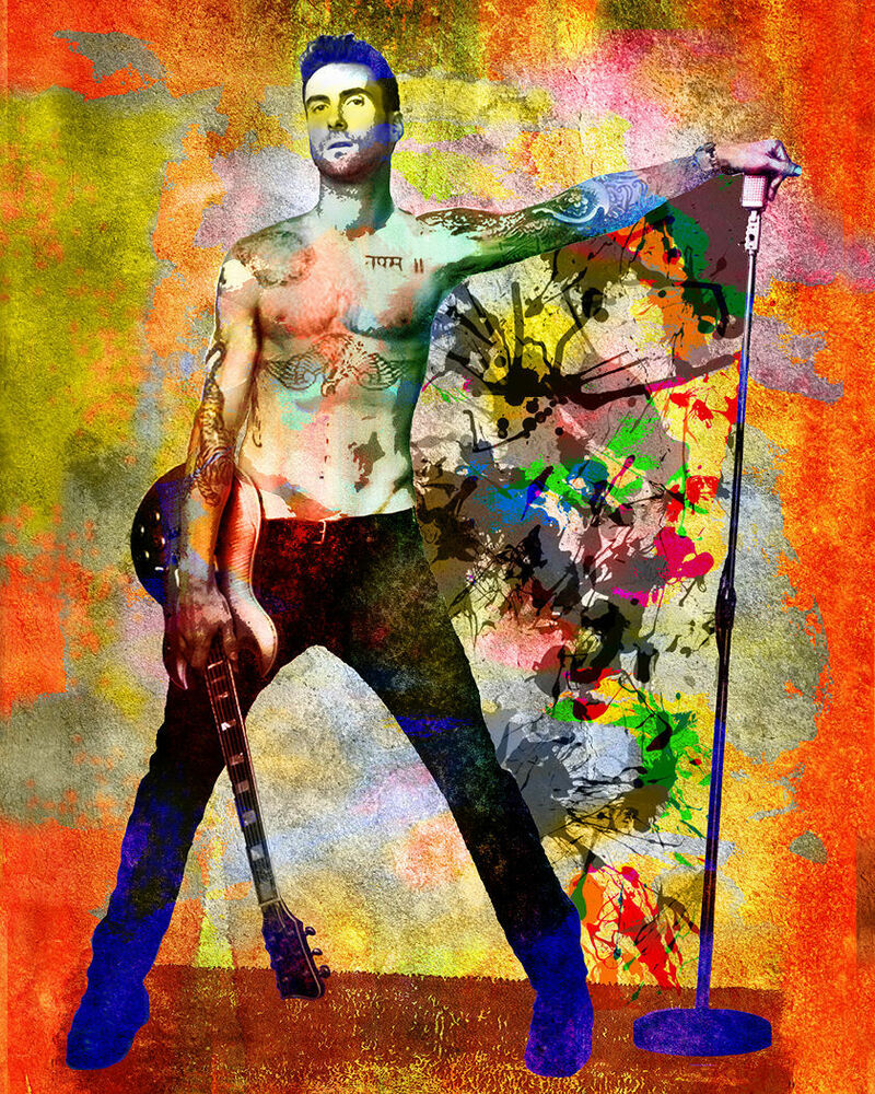 adam levine art print maroon 5 pop art poster ebay. Black Bedroom Furniture Sets. Home Design Ideas