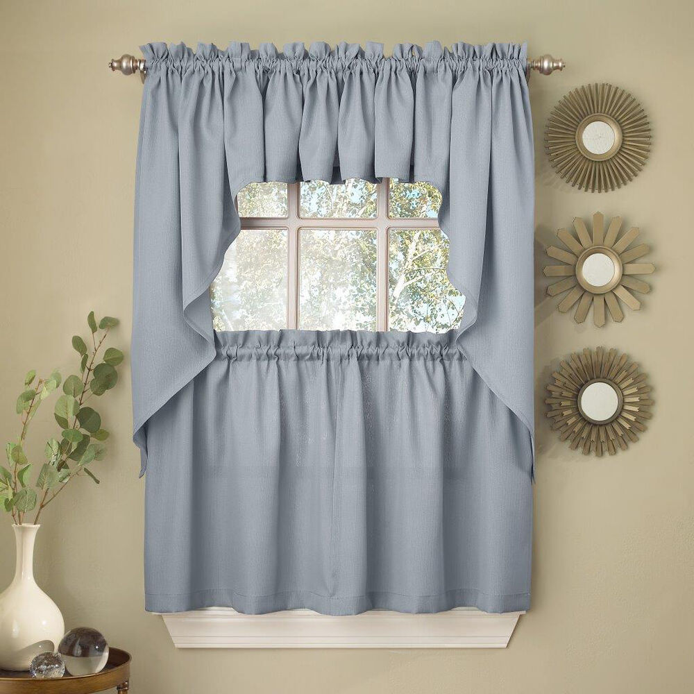 Kitchen Curtains And Valances: Light Blue Opaque Solid Ribcord Kitchen Curtains Choice Of