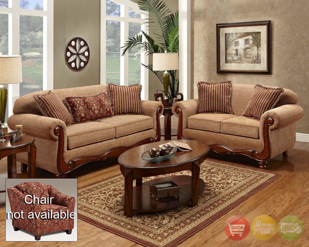 Key West Traditional Sofa Love Seat Living Room Furniture Set Taupe Chenille Ebay