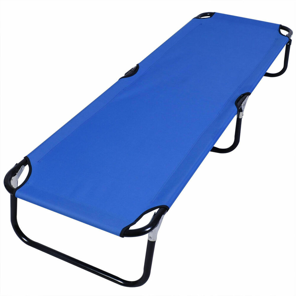 Blue Folding Camping Bed Outdoor Portable Military Cot ...