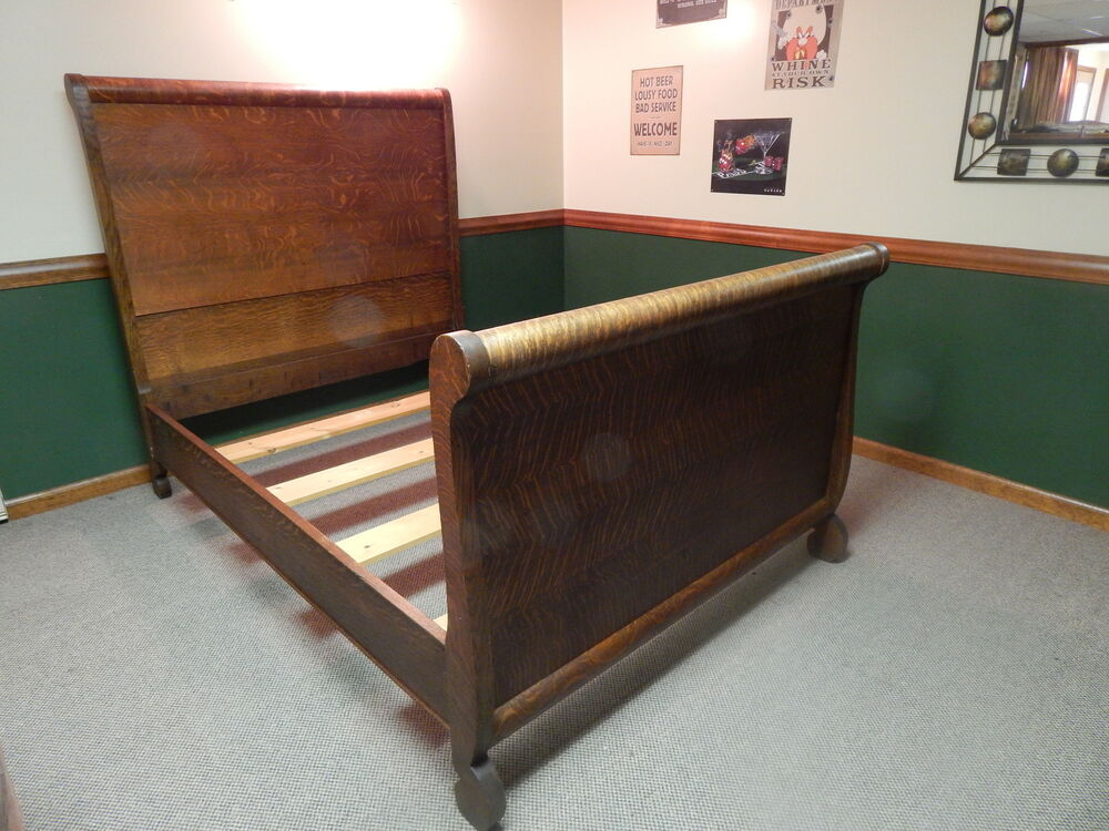 Antique furniture roll top tiger oak bed ebay for Old furniture