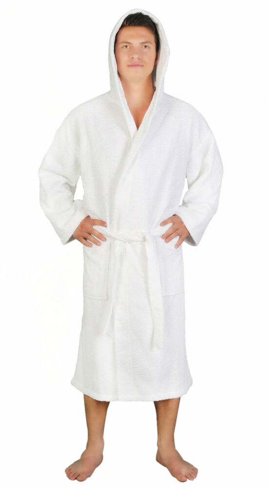 mens 100 turkish cotton terry lightweight hooded bathrobe white s m l xl ebay. Black Bedroom Furniture Sets. Home Design Ideas