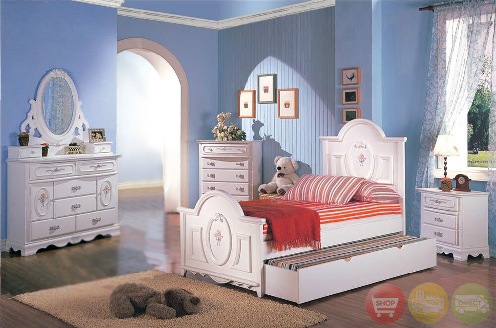 White Wood Girls Twin Bed Kids 4 Piece Bedroom Furniture