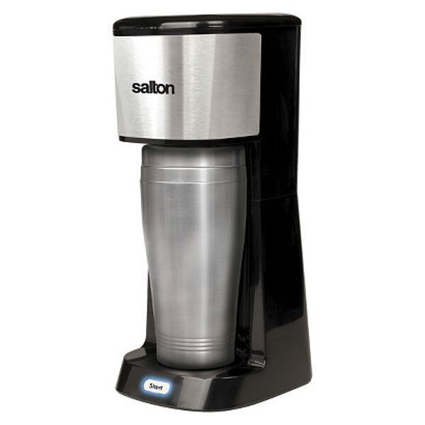 Coffee Maker That Fits Travel Mug : Salton Single Serve Coffee Maker Pod & 16oz Steel Travel Mug Cup Reusable Filter eBay