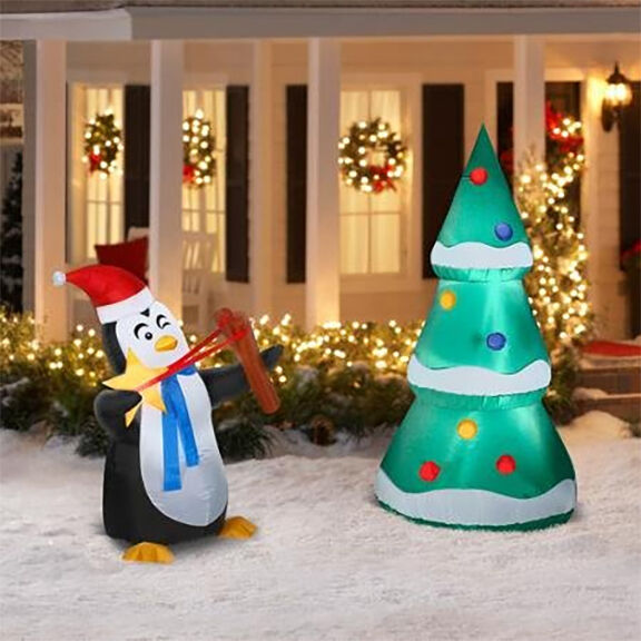6 39 penguin christmas tree decorating airblown for Airblown christmas decoration