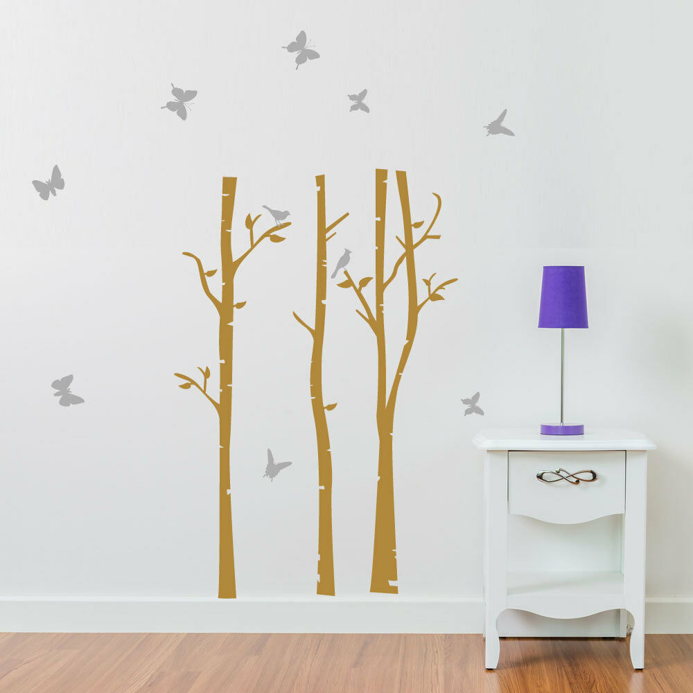 Details about trees branches butterflies birds vinyl wall window sticker decal home décor a213