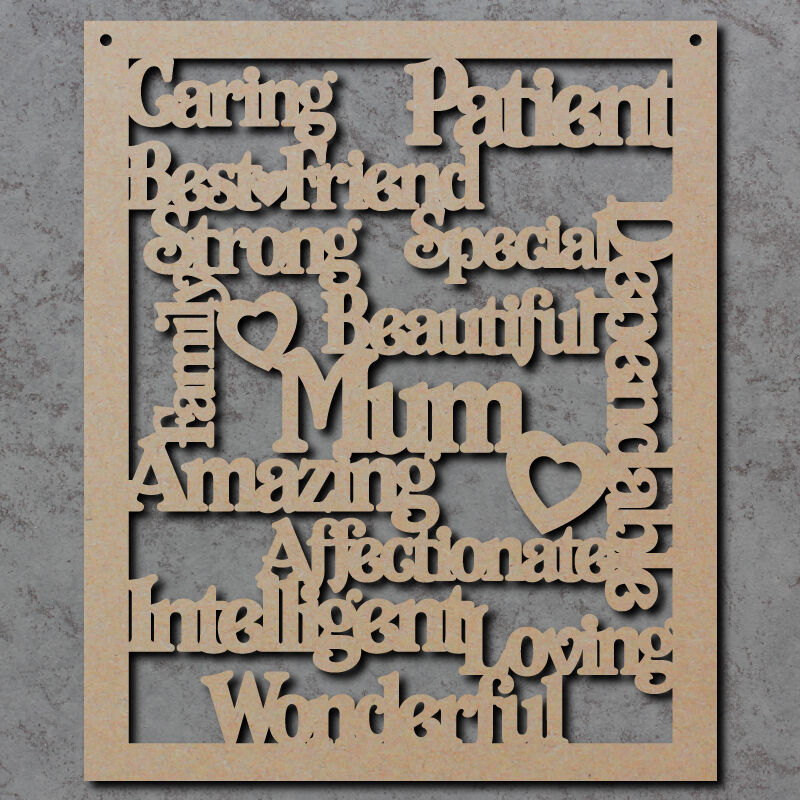 Mum Words Sign Wooden Laser Cut Mdf Craft Shapes
