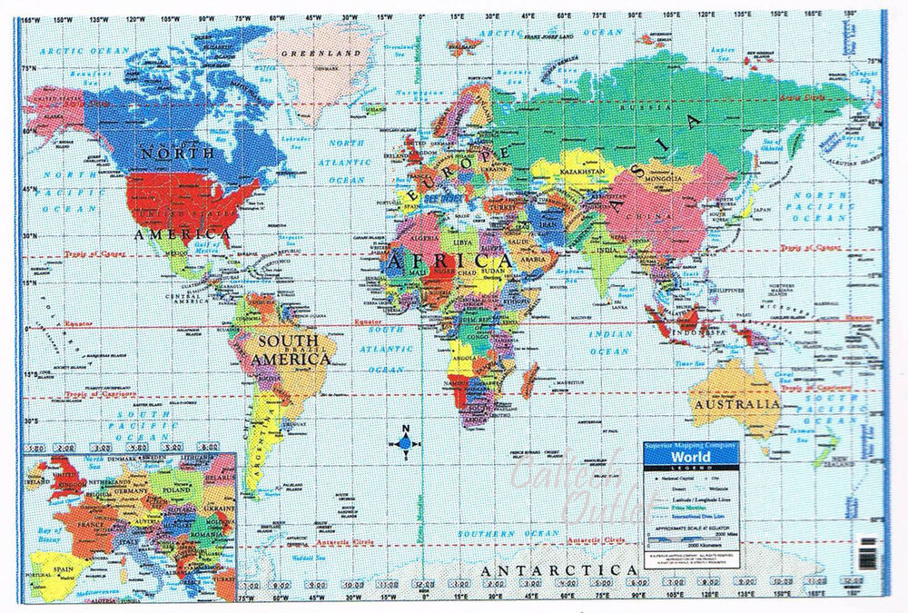 world map poster size wall decoration large map of the world 40 x 28 ebay. Black Bedroom Furniture Sets. Home Design Ideas