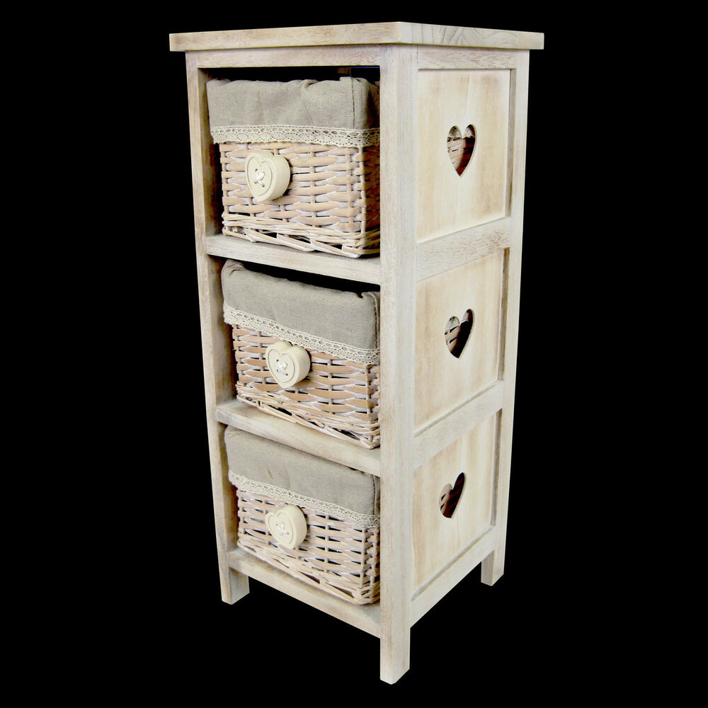 shabby chic bedside lamp table 3 wicker basket heart design storage unit ebay. Black Bedroom Furniture Sets. Home Design Ideas