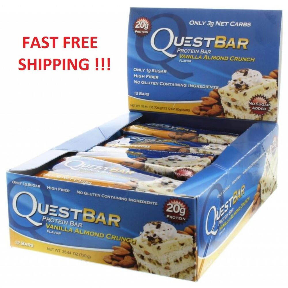 Quest protein bars vanilla almond crunch 24 bars 2 for Muscle food quest bar
