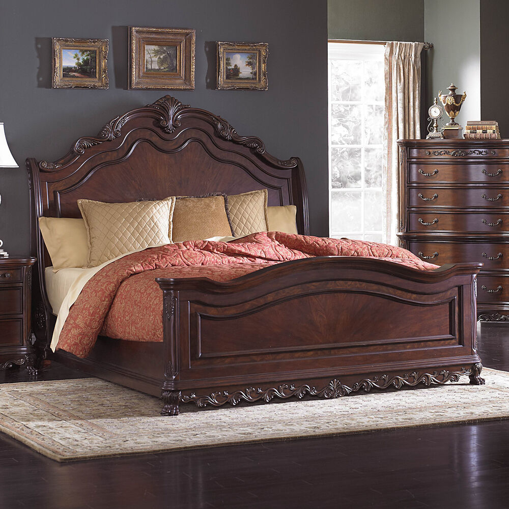 Beautiful burl inlay king sleigh bed bedroom furniture ebay - King size bedroom set with mattress ...