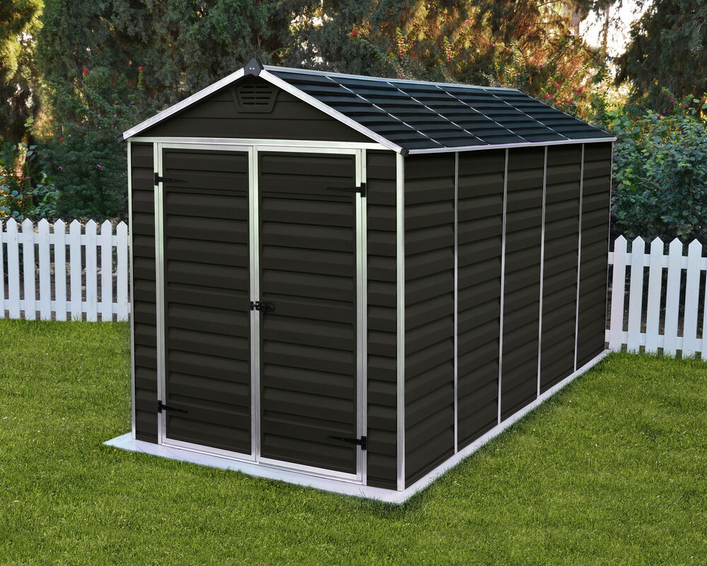 Palram skylight garden shed new dark brown in 6 sizes with - Brown plastic garden sheds ...
