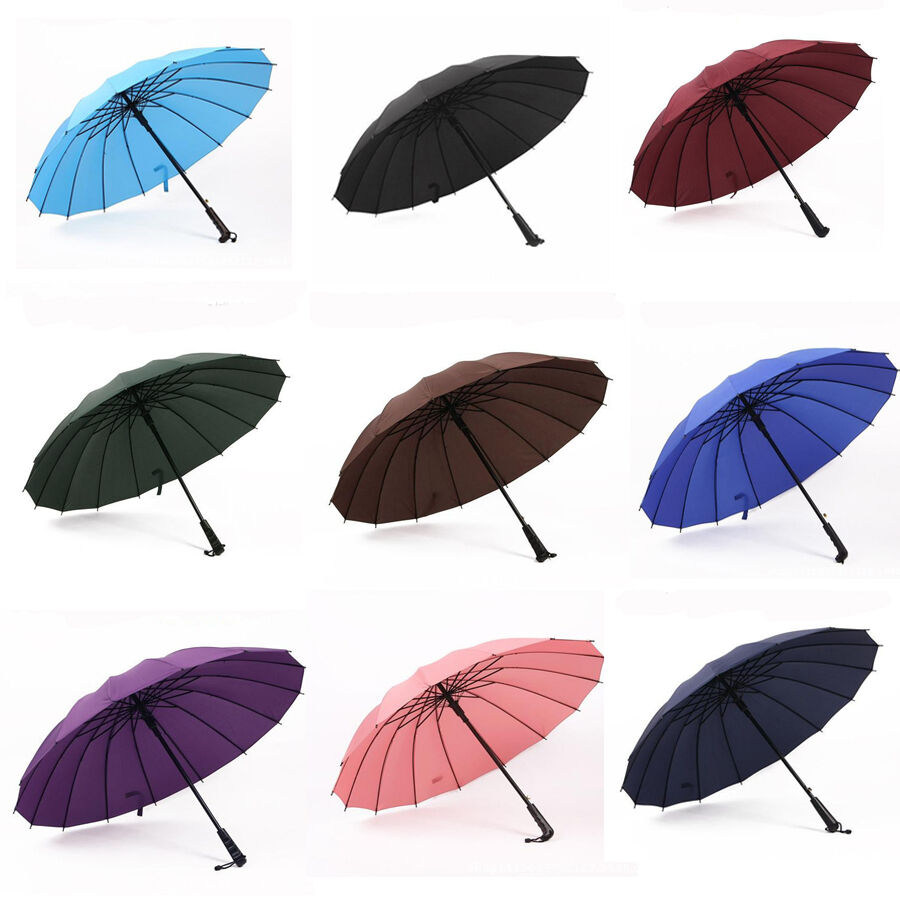 Auto open rain umbrella Long handle parasol large men ...