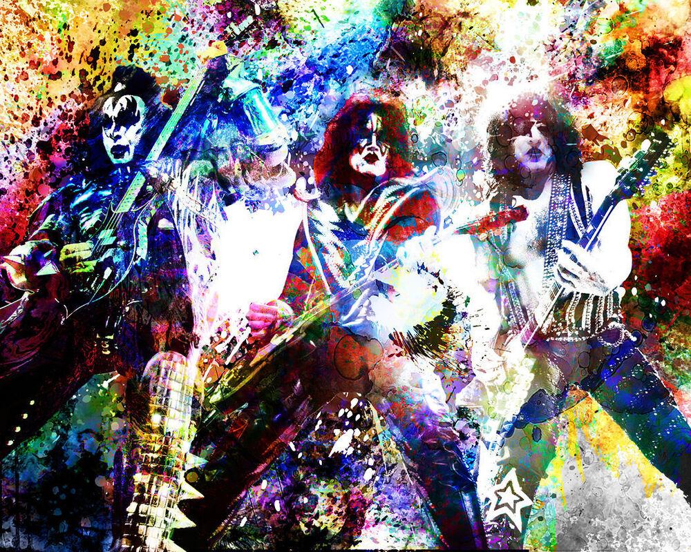 kiss art print gene simmons canvas paul stanley tommy thayer ebay. Black Bedroom Furniture Sets. Home Design Ideas