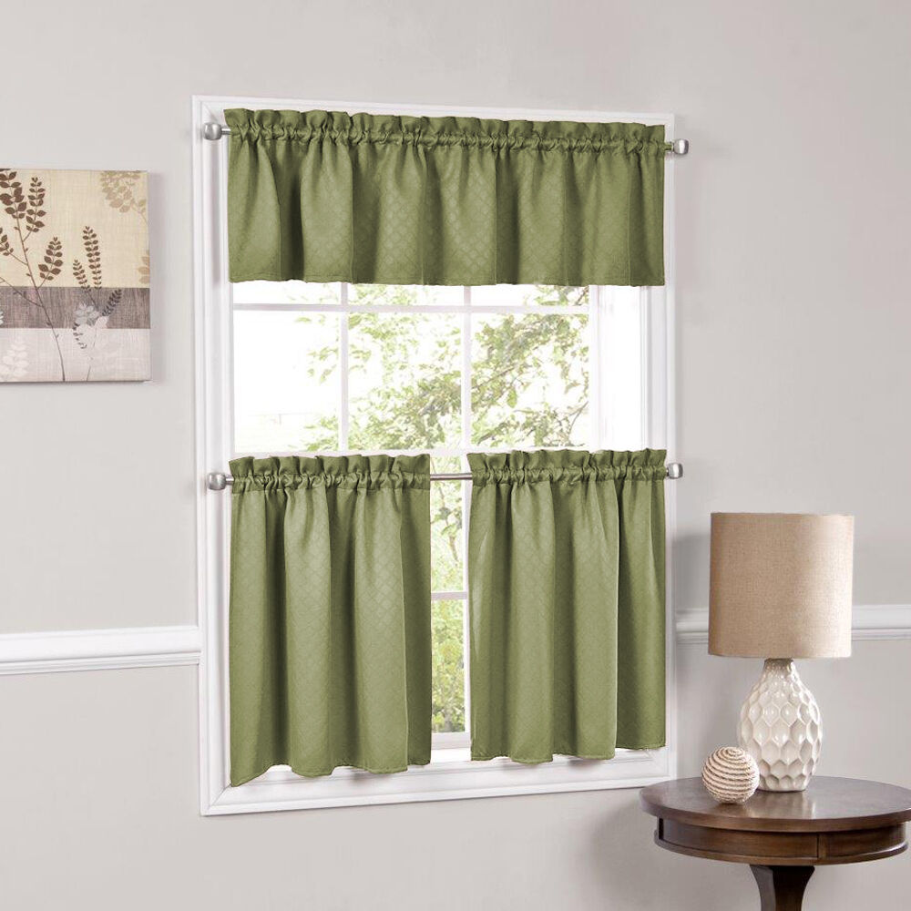 Frilled Kitchen Curtains Lined: Facets Sage Room Darkening Blackout Insulated Kitchen