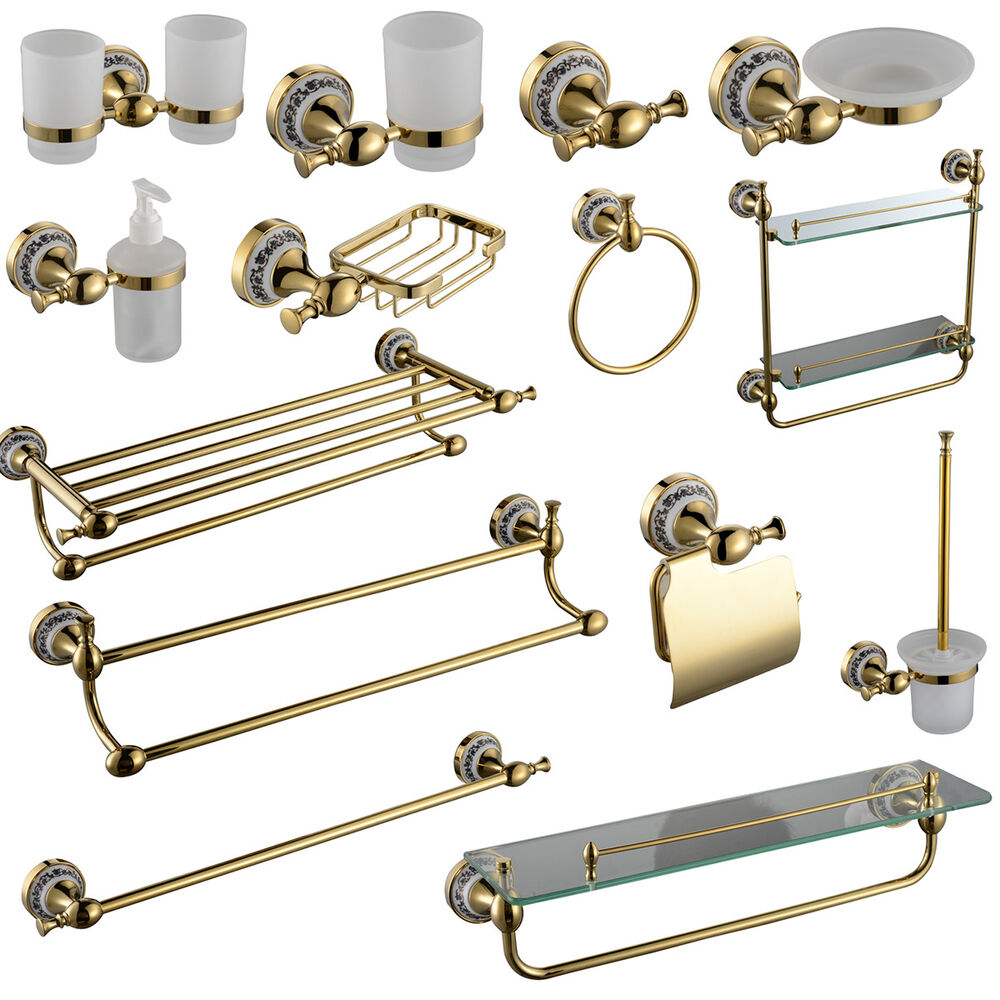 Gold Victorian Style Solid Brass Wall Mounted Round Bathroom Accessories 14 Set Ebay
