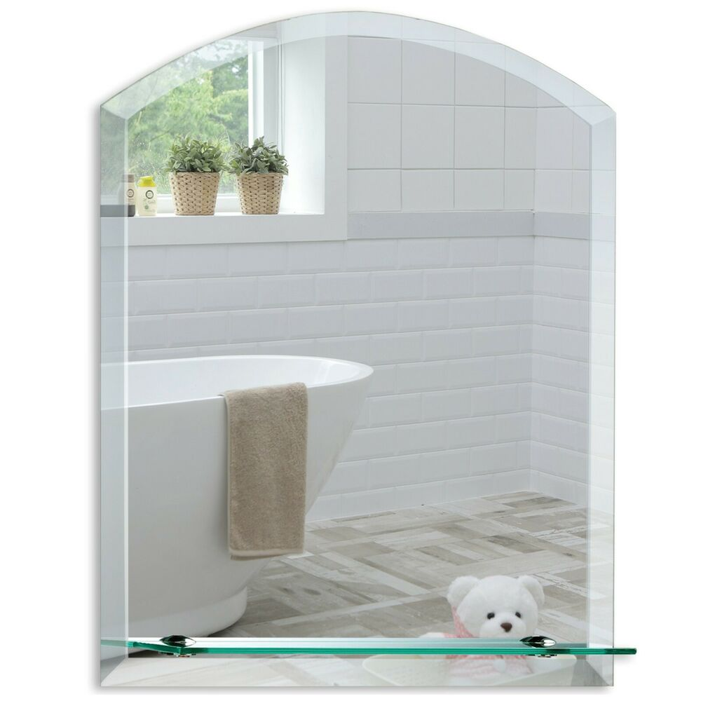 beveled glass mirrors bathroom bathroom wall mirror modern stylish arch with shelf and 17355
