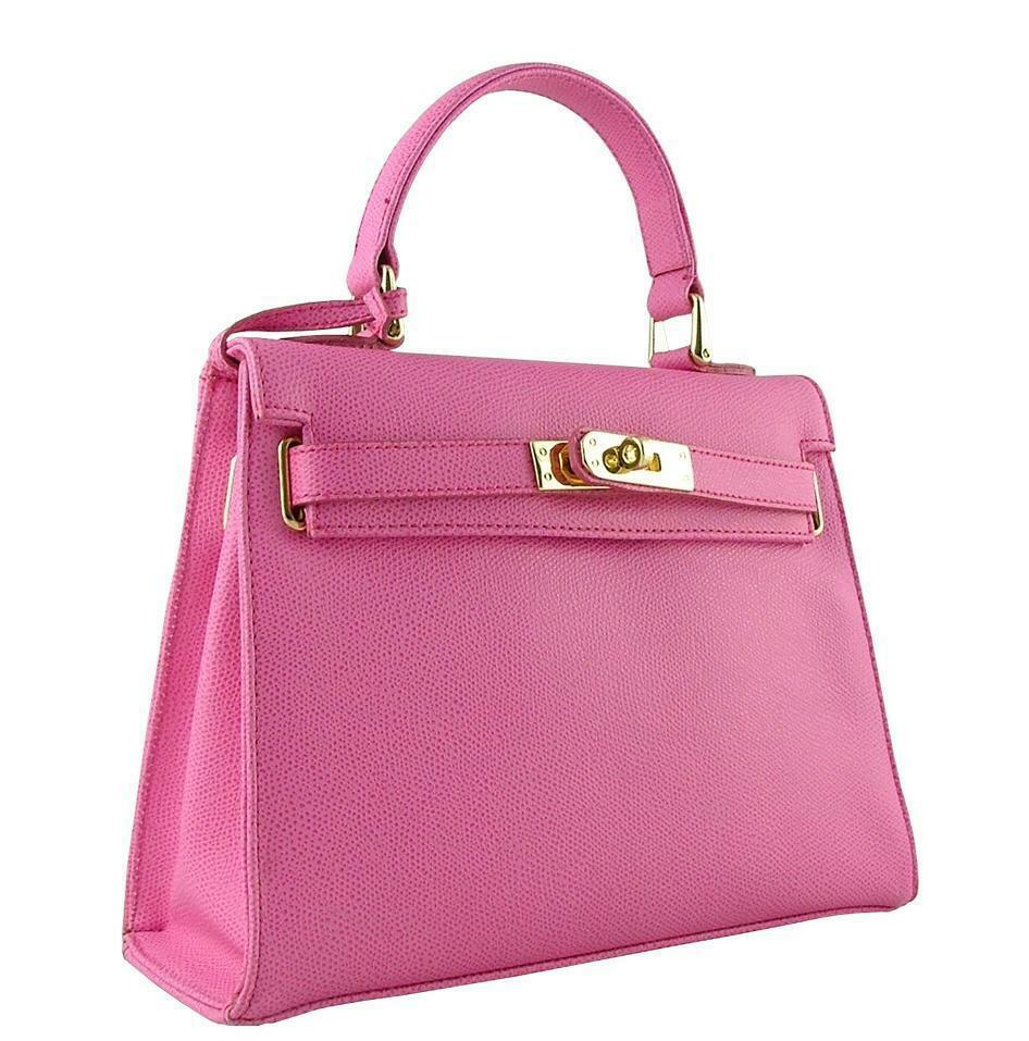 62290a050 AUTHENTIC CARBOTTI KELLY STYLE PINK 26CM HANDMADE LEATHER BAG WITH KEY AND  LOCK   eBay