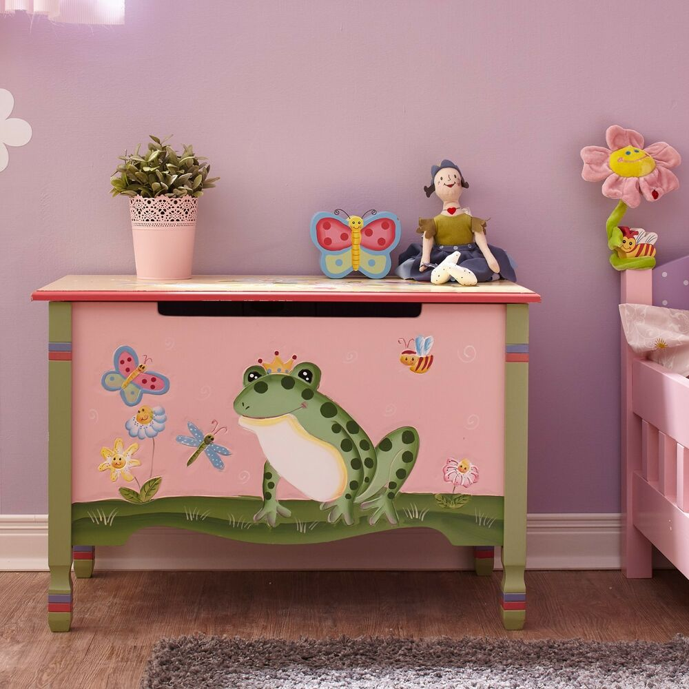 Wood Effect Kids Playroom Bedroom Storage Chest Trunk: Fantasy Fields Childrens Pink Wooden Toy Box Chest Tidy