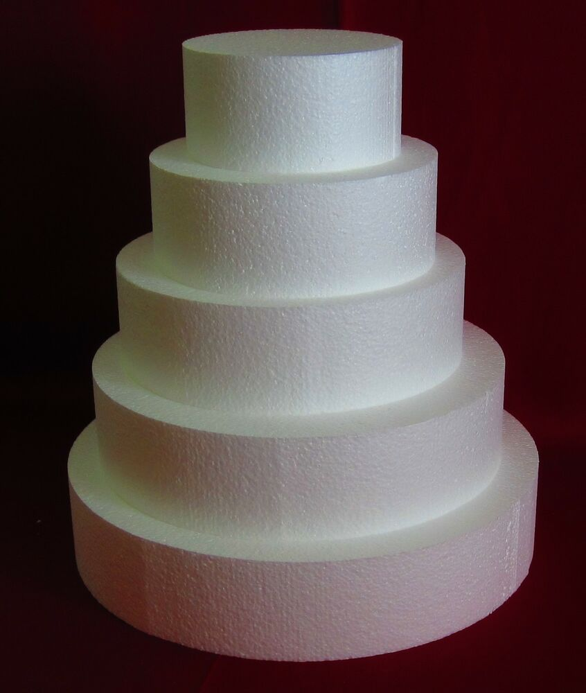 New Foam Cake Dummy Set 5 Pc Round 6 Quot To 14 Quot At 3 Quot Thick