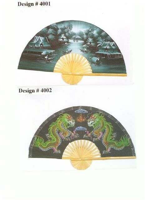 Large Bamboo Decorative Fans Hand Painted 60 Quot And 40 Quot Ebay