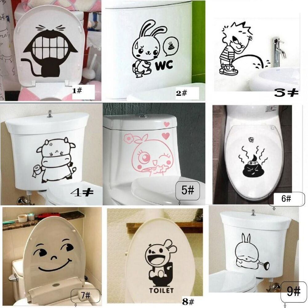 New toilet seat wall sticker vinyl art wallpaper removable for Bathroom decor stickers