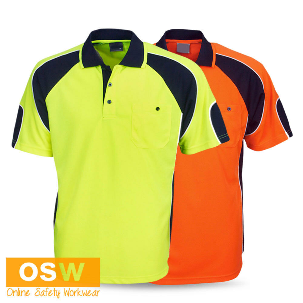 Hi vis mens womens work polo cool dry orange yellow lime for Mens orange polo shirt