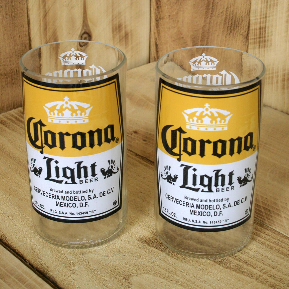 Corona light beer 8 oz hand crafted upcycled glasses made for Making glasses from bottles