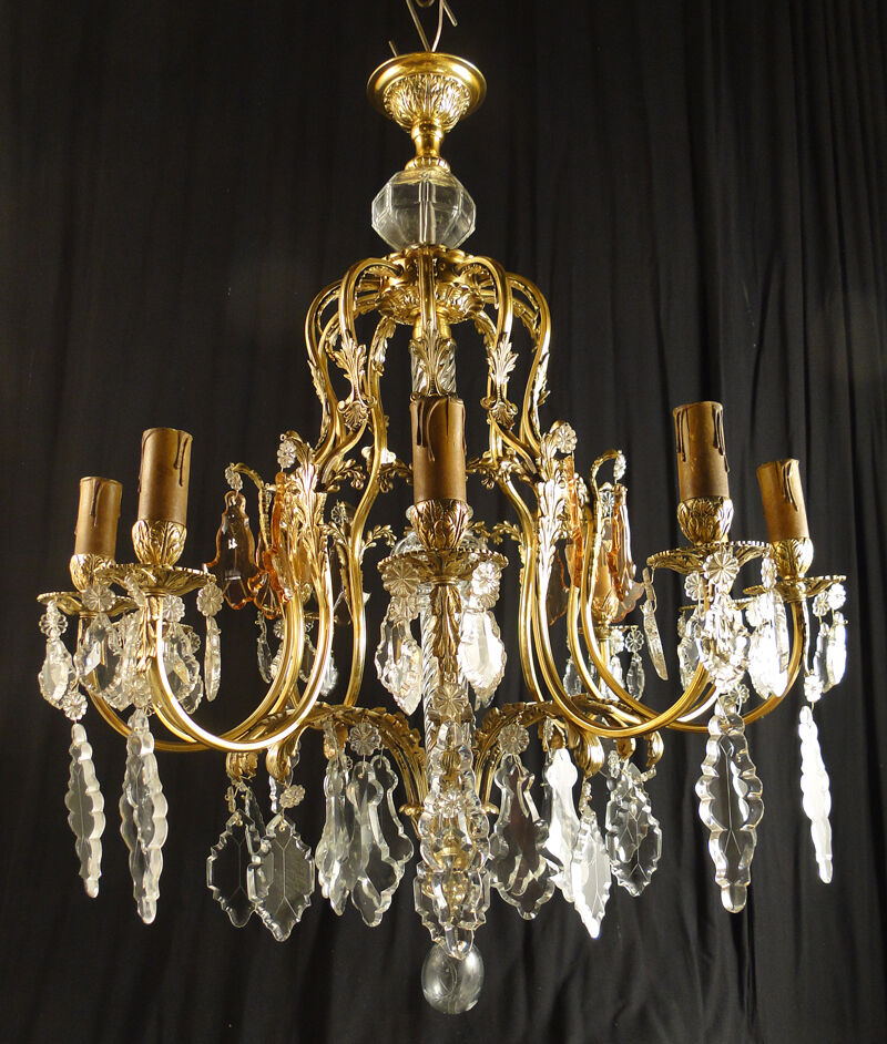 Antique Important French Chandelier Lamp Bronze Crystal 10
