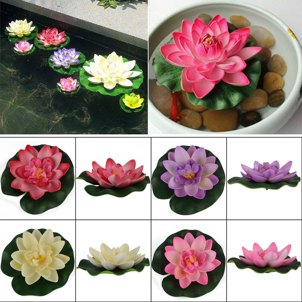 Artificial lotus water lily floating flower garden pool for Plastic floating pond plants