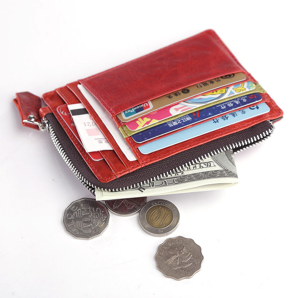 Credit Coin: Men Women Genuine Leather ID Credit Card Coin Holder Small