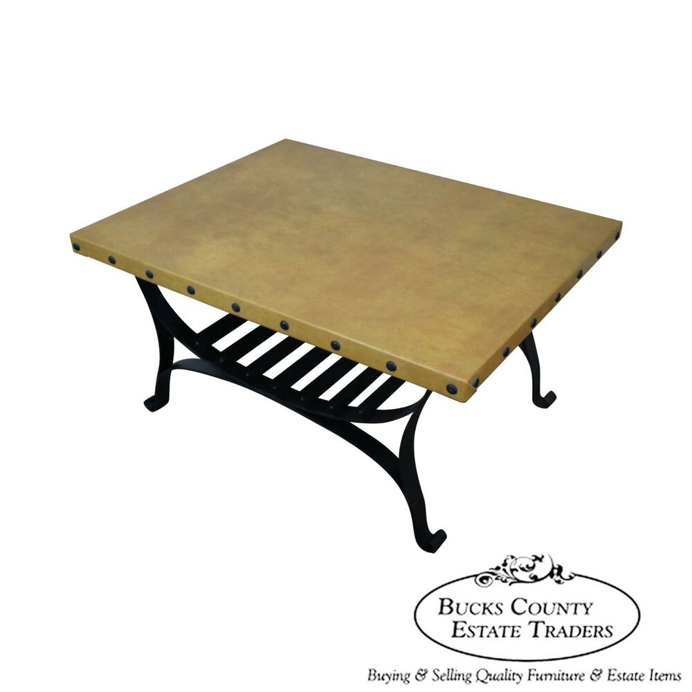 custom quality spanish style iron base faux leather top coffee table ebay. Black Bedroom Furniture Sets. Home Design Ideas