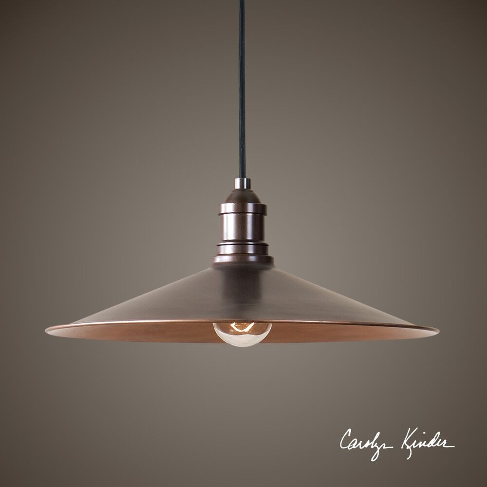 14 antique copper finish pendant light ceiling fixture for Antique pendant light fixtures