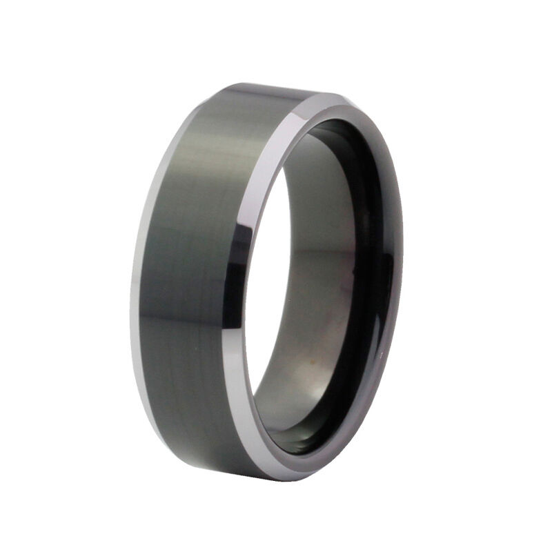 men 39 s wedding band tungsten carbide 8mm comfort fit black silver ring